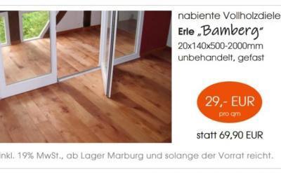"""Nabiente Vollholzdiele Erle """"Bamberg"""""""
