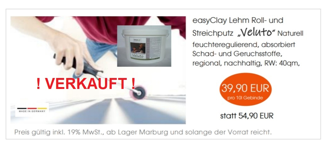 """Lehm Roll- und Streichputz """"Veluto"""" naturell"""